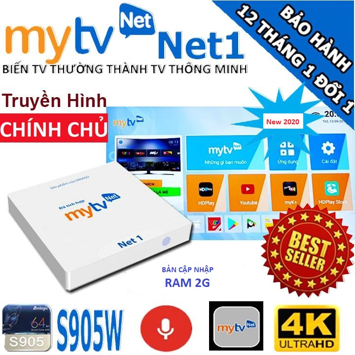 Android MyTV Net RAM 2G-2020 Tặng  HDplay, Android 7.1.2  điều khiển Giọng nói KM680V- Hàng chính hãng