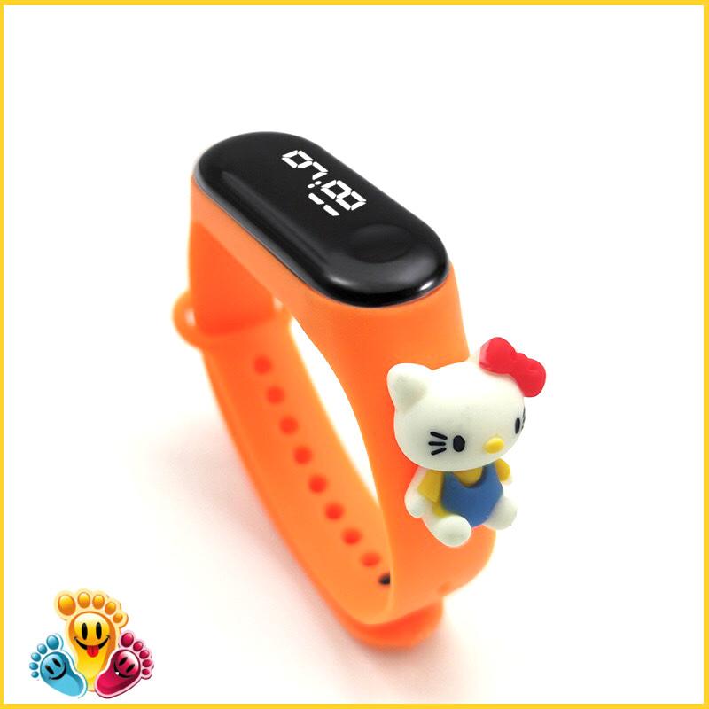Đồng hồ trẻ em Silicon nhiều màu, đồng hồ điện tử thông minh cho bé E132 - hellokitty