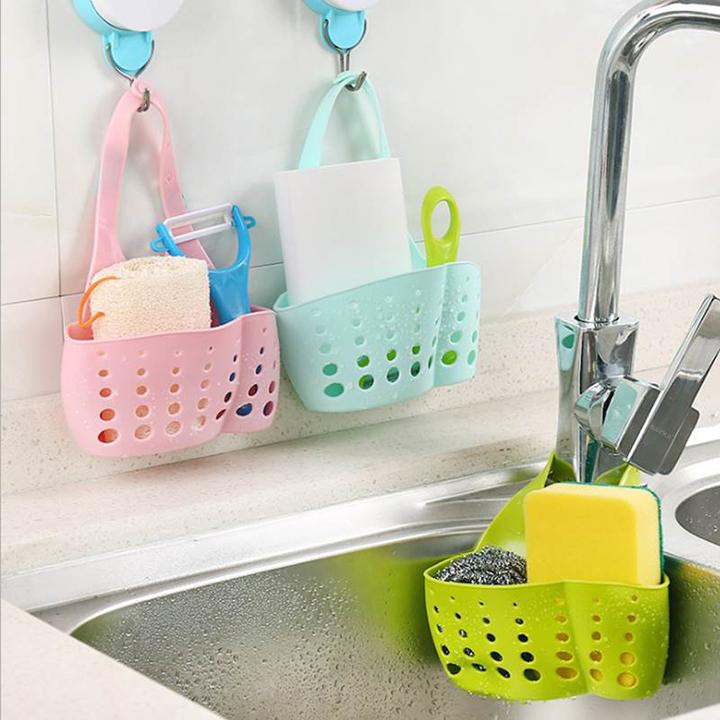 Giỏ nhựa đựng đồ treo bồn rửa chén (màu ngẫu nhiên)