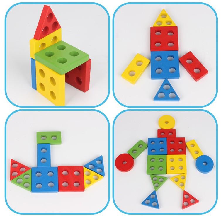 Bảng Chuỗi Thả Hình Bằng Gỗ Giáo Cụ Montessori Giúp Bé Phát Triển Tư Duy + Tặng Đồ Vật Kêu Chíp Chíp Hình/Màu Ngẫu Nhiên