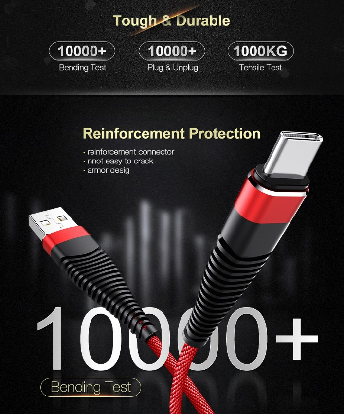 Cáp Sạc Nhanh 3.0 MICRO USB CHÍNH HẢNG CAPARIES Siêu Bền 1 Mét - Dây dù 6 Lớp, Đúc Nguyên Khối, Sạc Nhanh 3.0