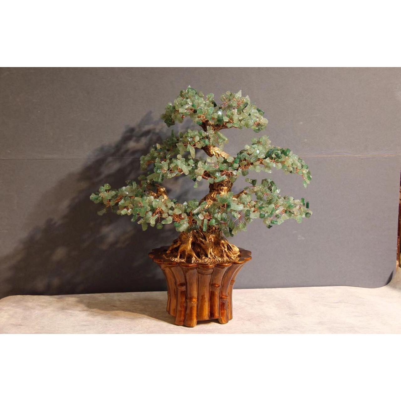 Cây Tài Lộc phong thủy đá thạch anh dâu tây xanh - Cao 45 cm