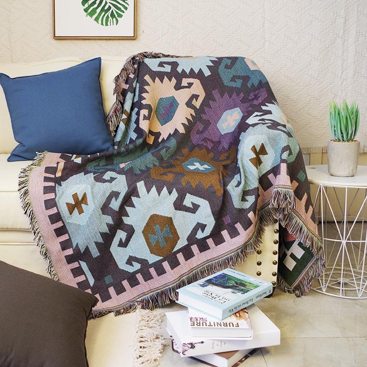 Chăn Thảm Phủ Sofa Trang Trí Giường Ngủ Hình Học Hoa Vàng Nâu