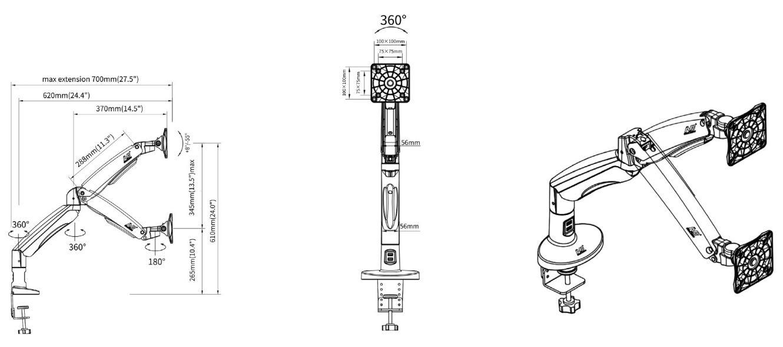 Giá Treo Màn Hình Máy Tính F100A-B Màu Đen (22-35 inch) - Hàng nhập khẩu