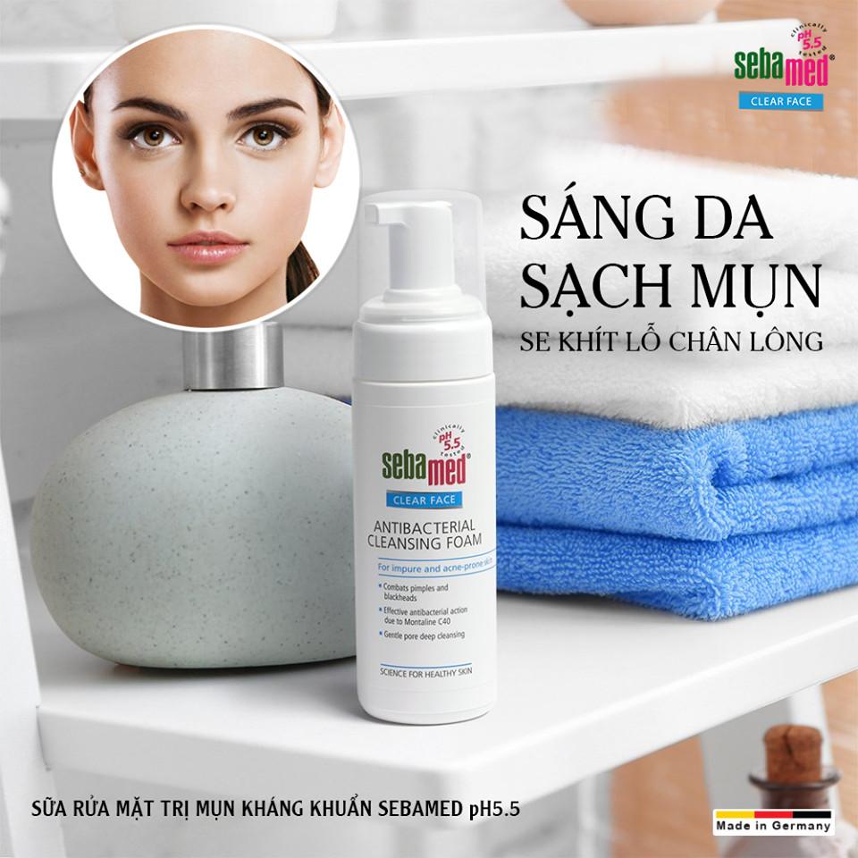 Sữa rửa mặt tạo bọt kháng khuẩn, giảm mụn Sebamed pH 5.5 Clear Face Antibacterial Cleansing Foam (Nhập khẩu)