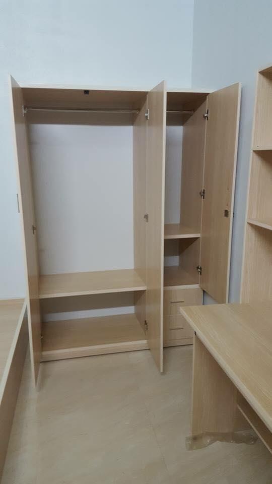 Tủ nhựa đài loan 3 cánh 2 ngăn kéo màu vân gỗ trắng