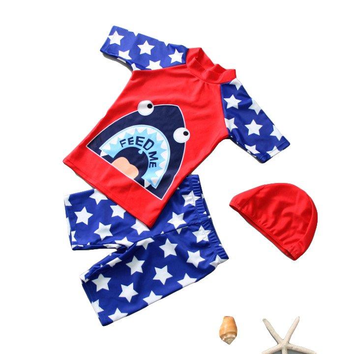 Bộ đồ bơi ngắn tay hoạ tiết cá mập kèm nón bơi cho bé trai DBBT08