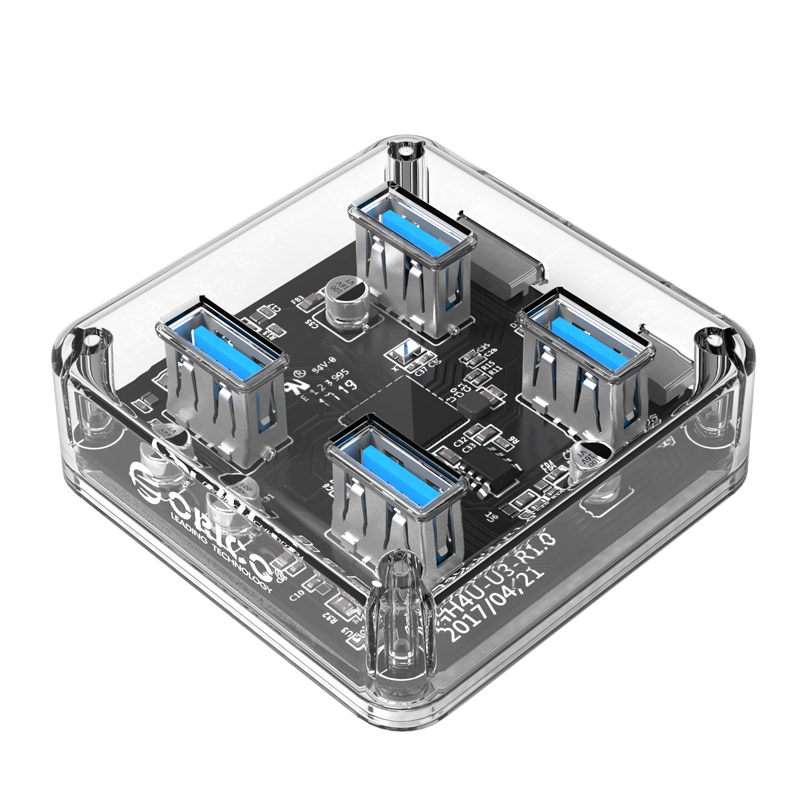 Hub USB 3.0 Orico 4 Cổng MH4U-U3 (Trong suốt) - Hàng Chính Hãng