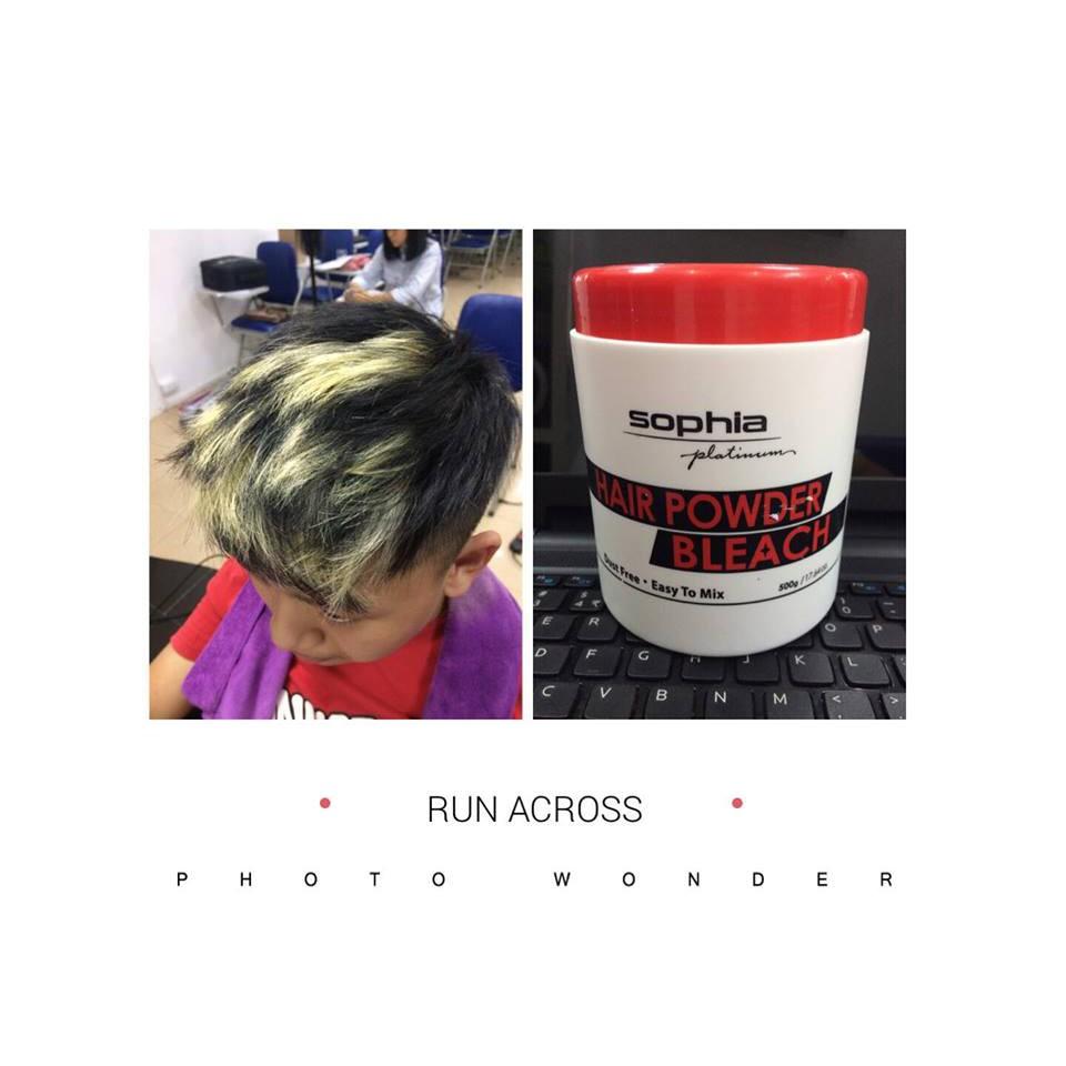 Bột rửa màu tóc nhuộm Sophia Platium Hair Powder Pleaching Hàn Quốc 550g tặng kèm móc khoá