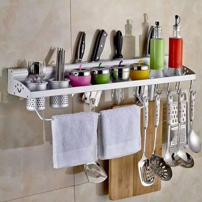 Giá treo tường để đồ nhà bếp có ống đũa, giá để dao, móc treo đồ