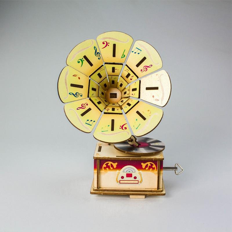 Đồ chơi lắp ráp gỗ 3D Mô hình Hộp nhạc Music box Hình Máy Hát AM6101