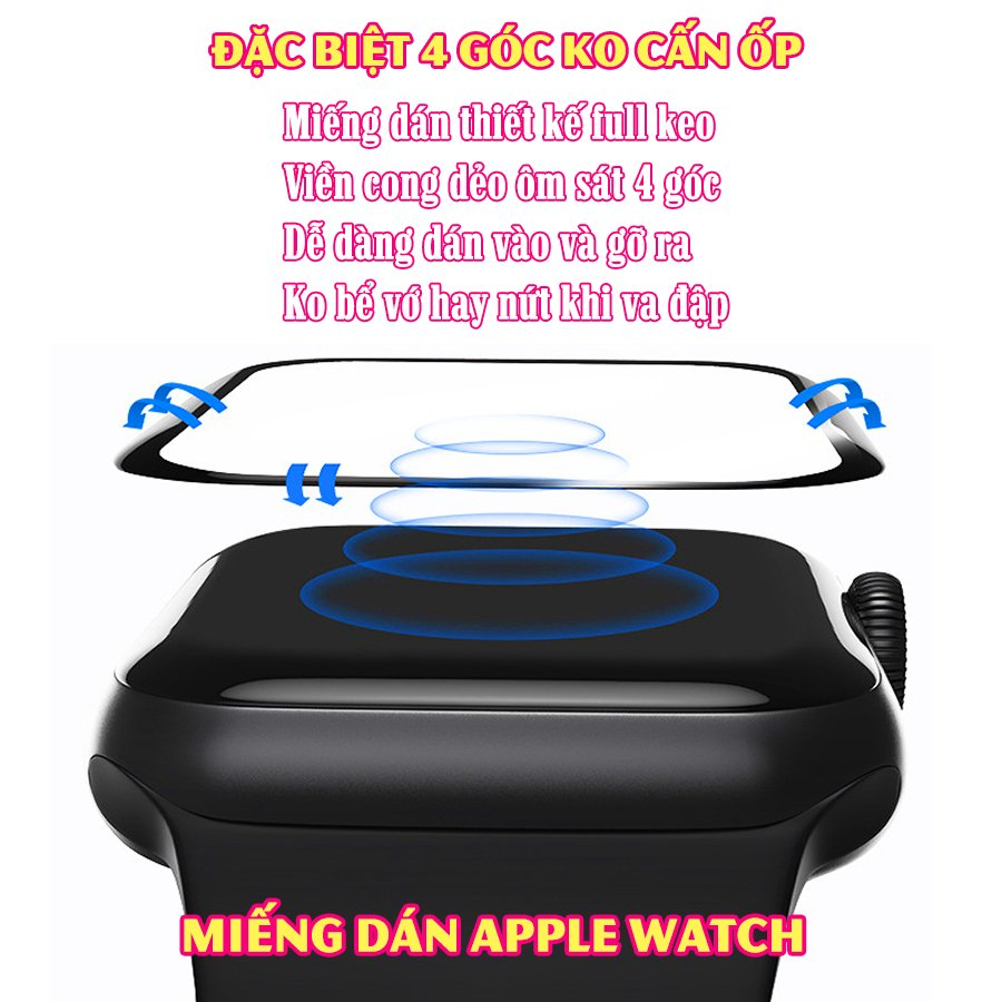 Dây Đeo liền ốp cho Apple Watch size 38/40/42/44mm TPU vuông SUPER chống sốc_Trắng (tặng dán KCL theo size)