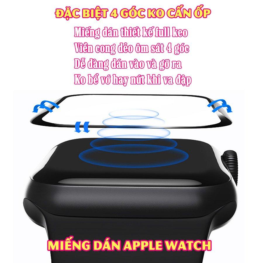(Đặc biệt 4 góc ko cấn ốp) Miếng dán cường lực dẻo trong & nhám full màn viền cong 3D cho Apple Watch size 38/40/42/44mm