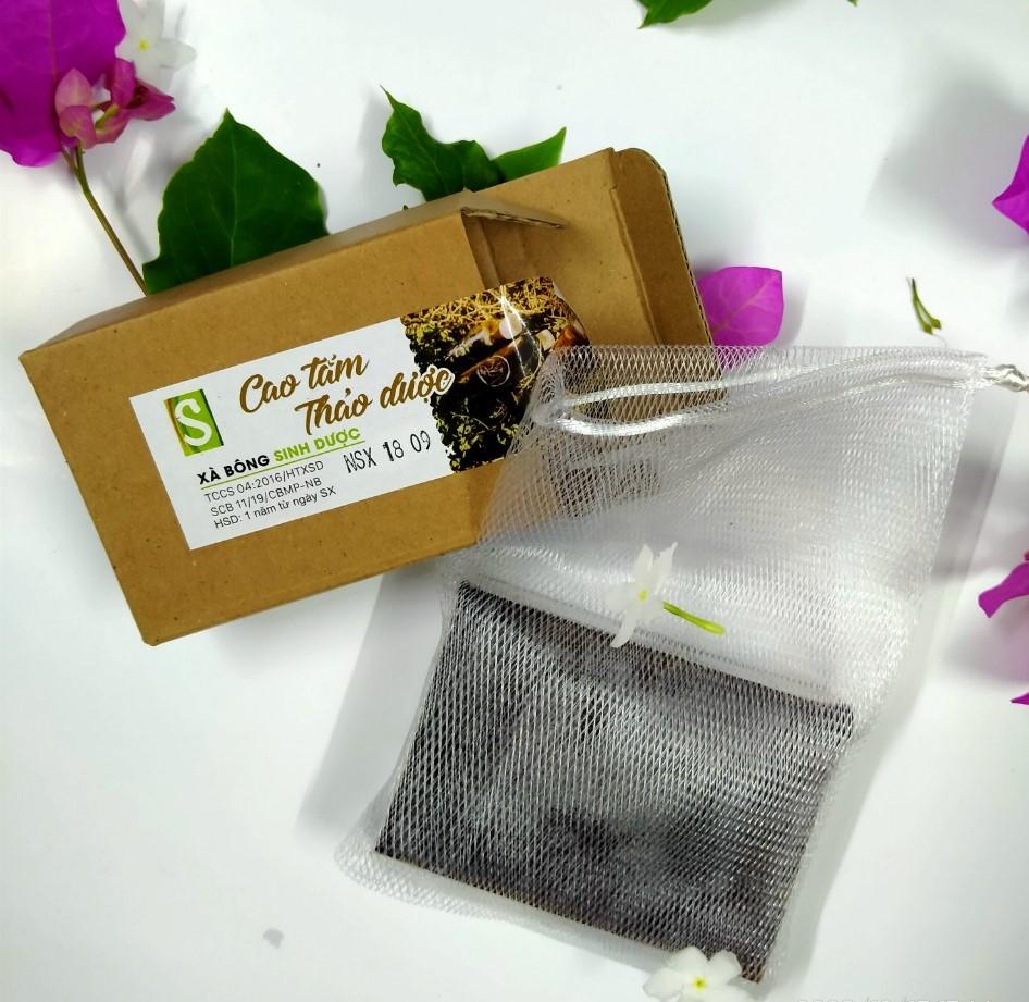 Bánh Xà bông Sinh Dược 100 gram Cao tắm thảo dược, kèm túi lưới tạo bọt