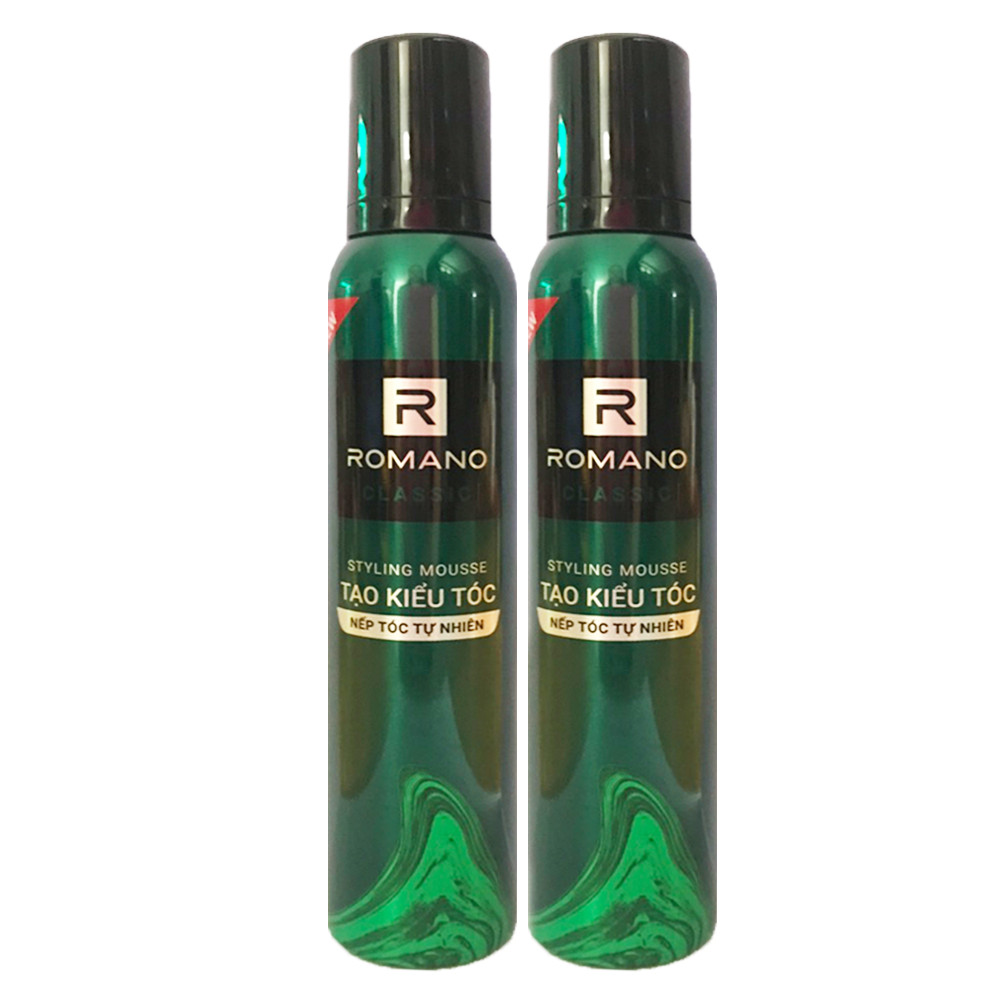 Combo 2 Mousse tạo kiểu tóc nam Romano Classic 175gr/Chai- Mẫu mới