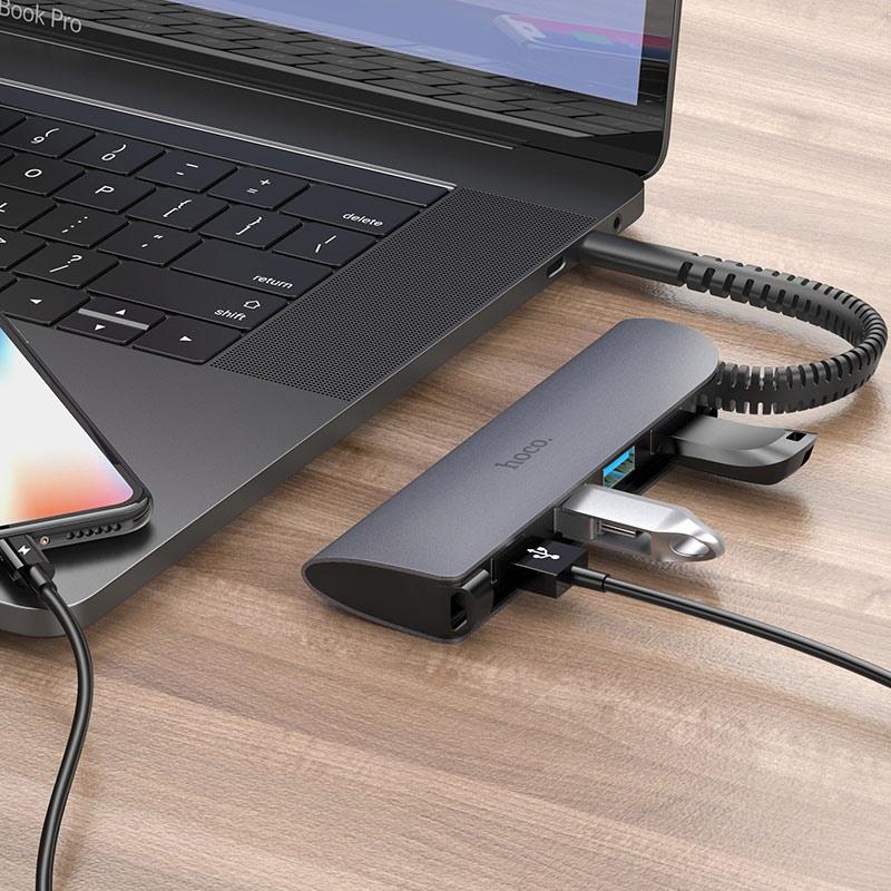 Hub chuyển đổi Hoco HB12 tích hợp cáp Type-C sang 4 cổng chuẩn USB3.0 chất liệu hợp kim cao cấp - Hàng chính hãng
