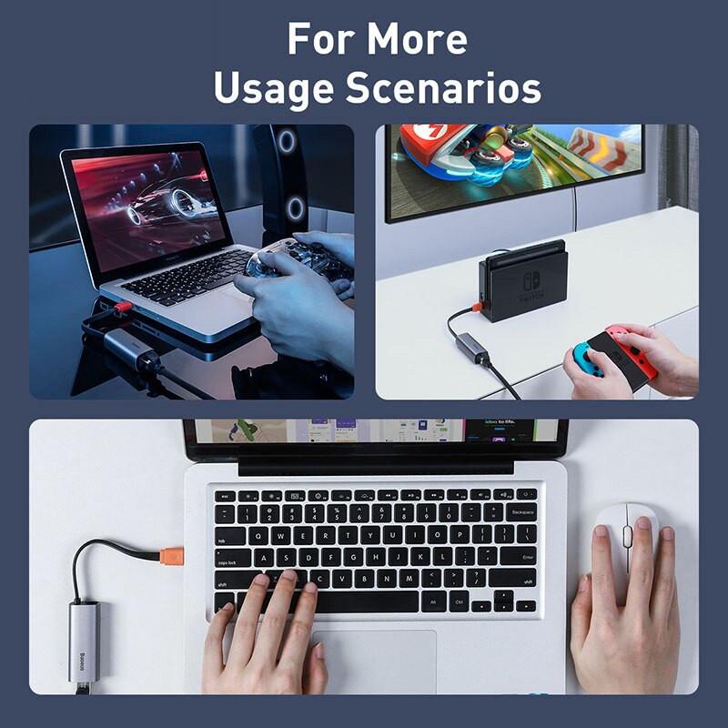 Đầu chuyển cổng USB Type A/Type C sang cổng mạng LAN Baseus Steel Cannon Series - Hàng Chính Hãng