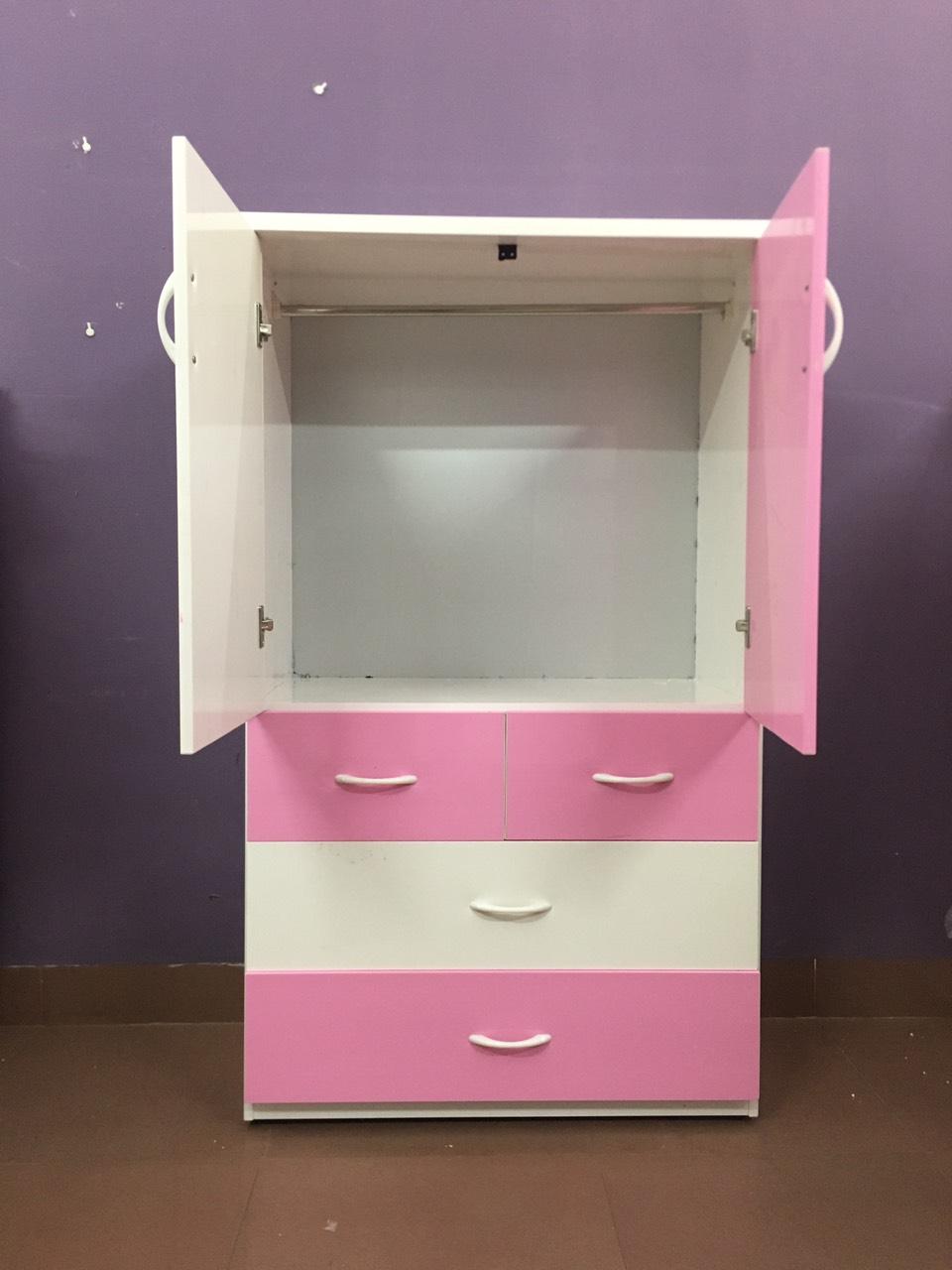Tủ nhựa đài loan 2 cánh 4 ngăn kéo hồng (cao 1m35 x rộng 85cm x sâu 45cm)