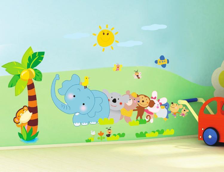 [ Size Lớn ] Decal dán tường kết hợp Các con thú và Chân Tường Động Vật AY639+XL7181