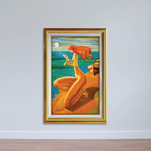 Tranh Trừu Tượng Sơn Dầu Cô Gái Bên Bờ Biển Canvas Có Viền W1142