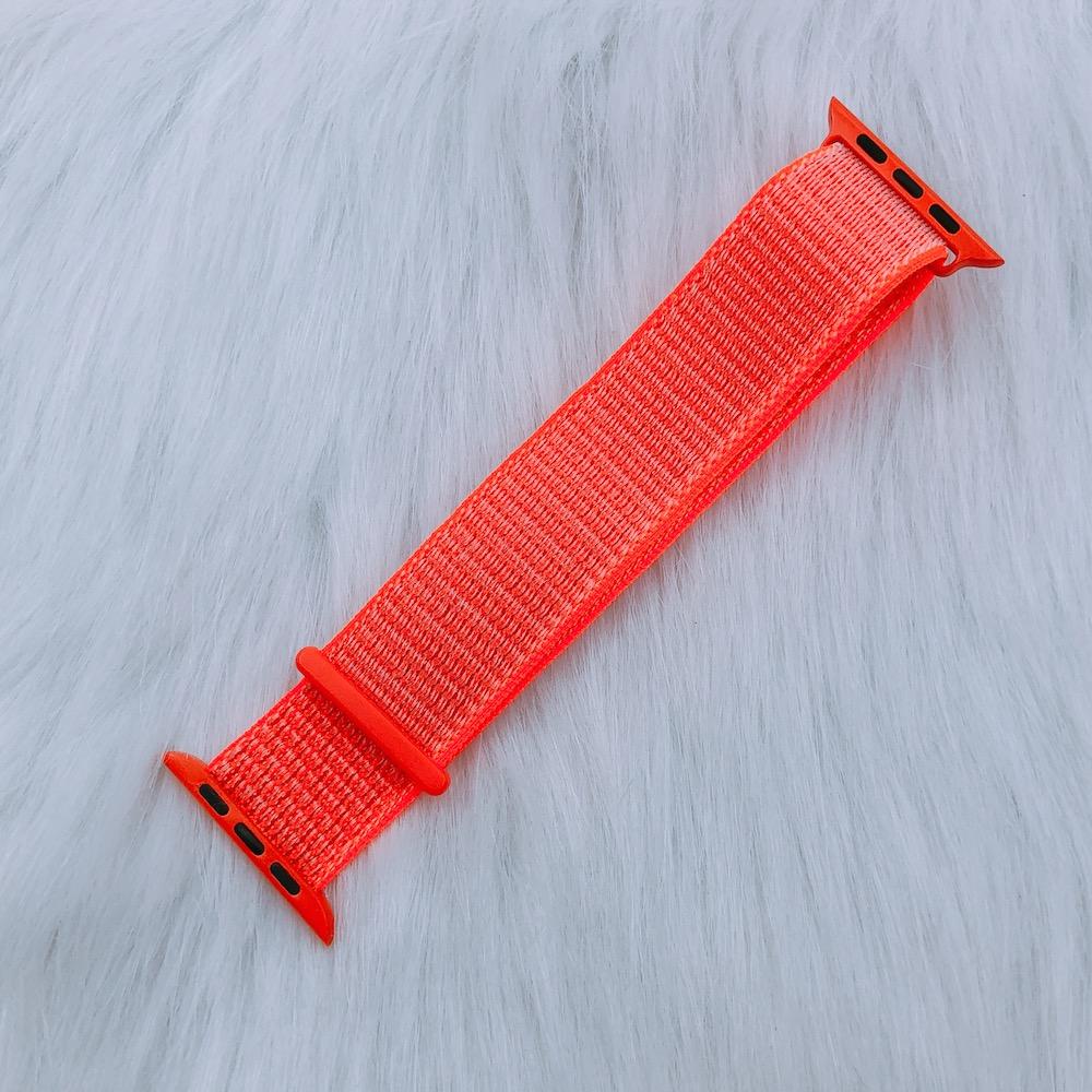 Dây Đeo Cho Apple Watch Nylon Sport Loop Màu Cam Sáng
