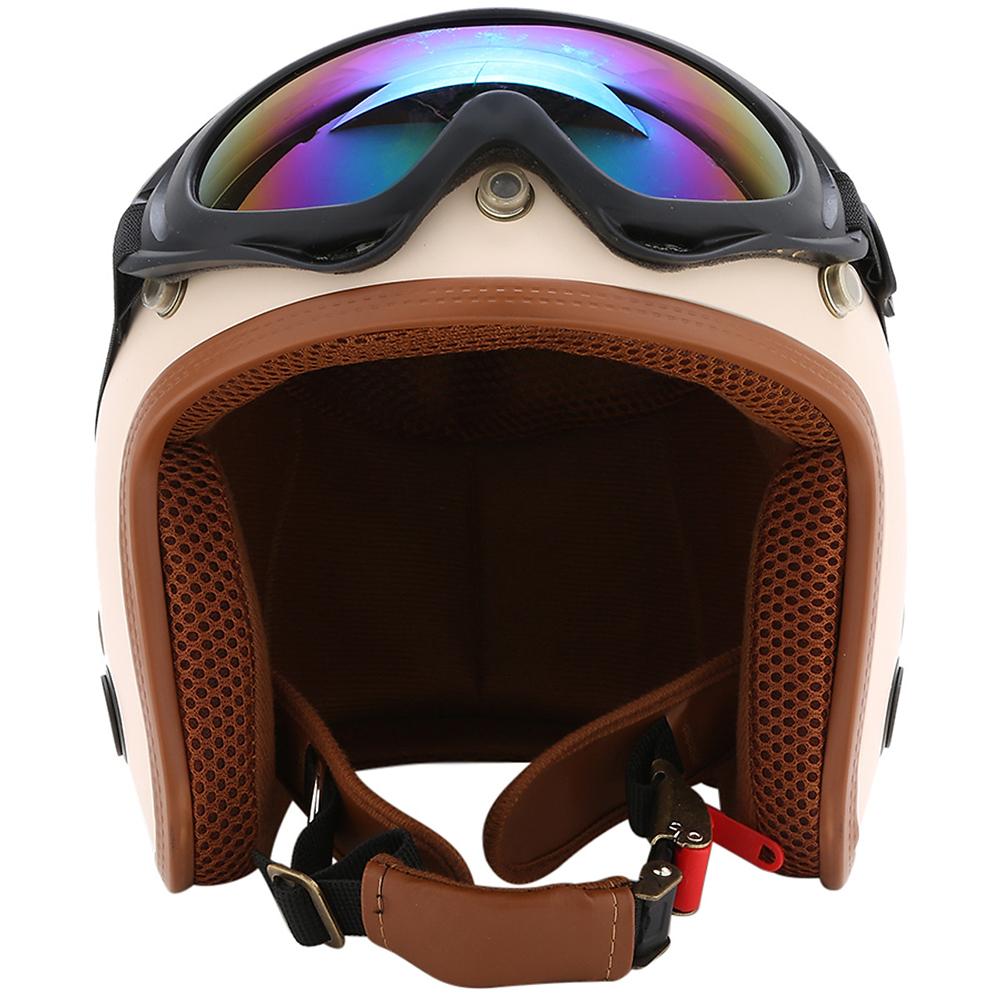 Combo Mũ Bảo Hiểm 3/4 Đầu SRT Kem nâu Kèm Kính UV400 Bảy Màu - Nón Bảo Hiểm Phượt SRT Mẫu Mới