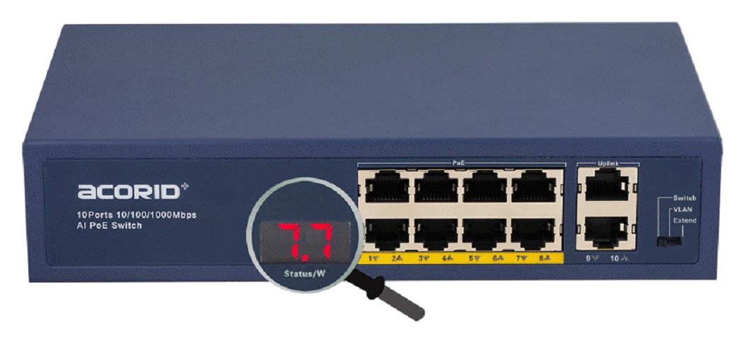 Switch PoE 8 cổng PoE x 2 cổng Uplink Acorid LS1708P2G Rj45-96W- Hàng nhập khẩu