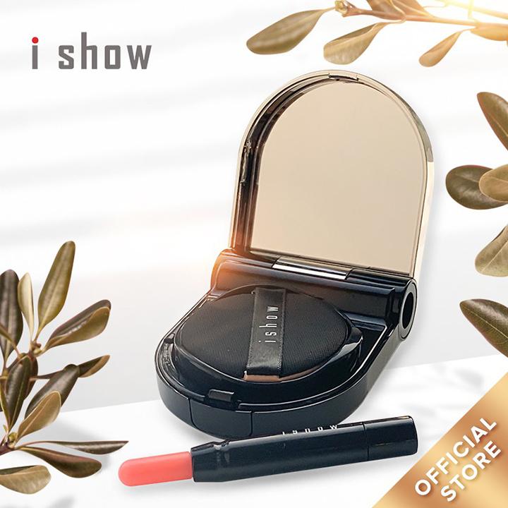 ISHOW Combo Phấn Nước Cushion Kiềm Dầu Chống Nắng Cao Cấp SPF 50+/PA +++ ( Kèm 2 son môi Lipstick ) Lớp nền tự nhiên căng bóng che phủ hoàn hảo