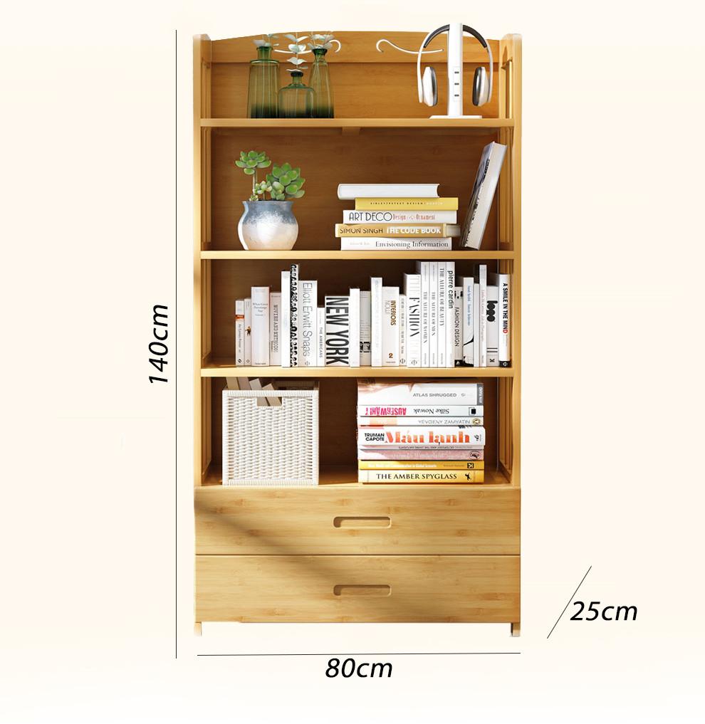 Kệ sách tre đơn giản hiện đại 5 tầng (kt 80x140x25cm)