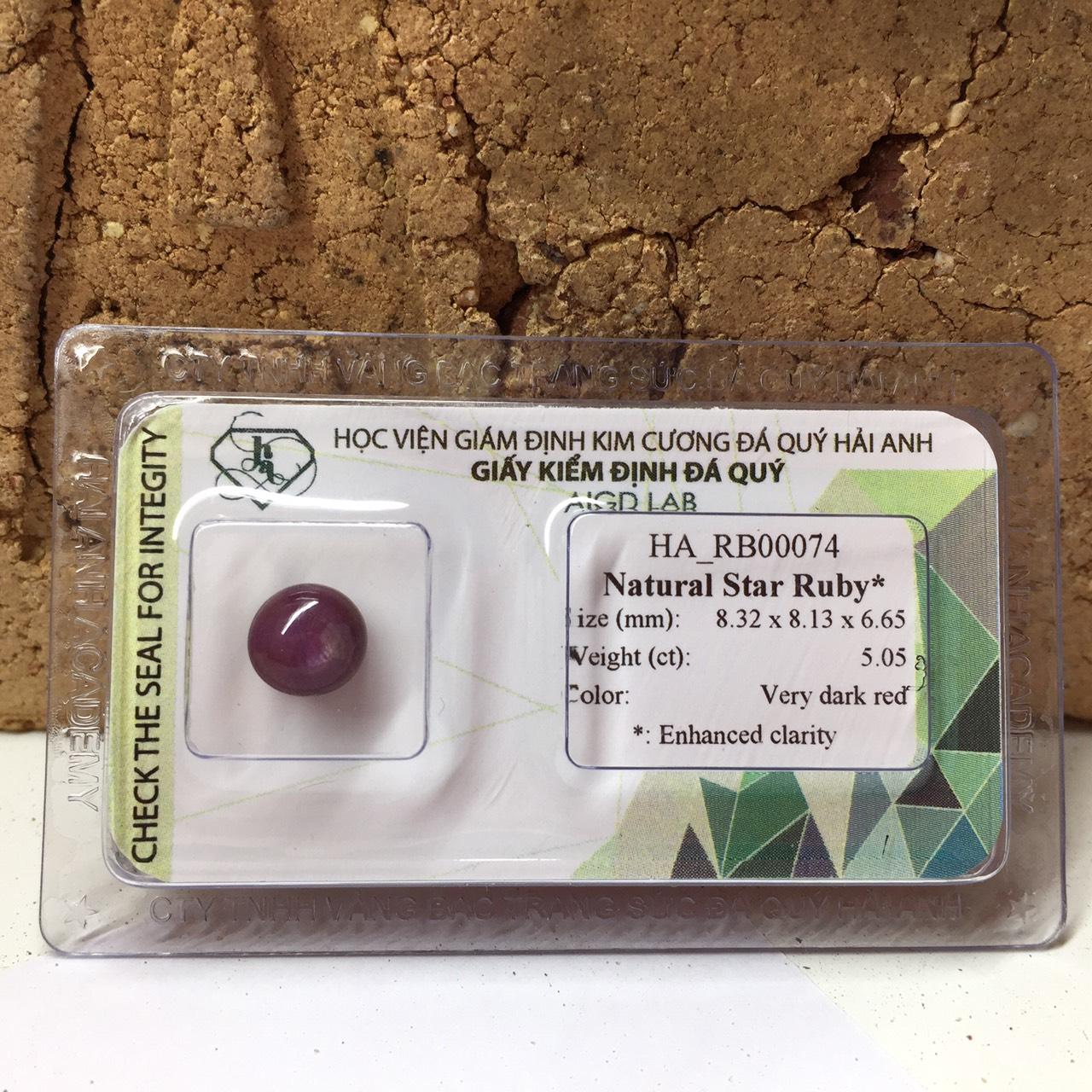 Viên đá Ruby sao thiên nhiên_HA-RB00074