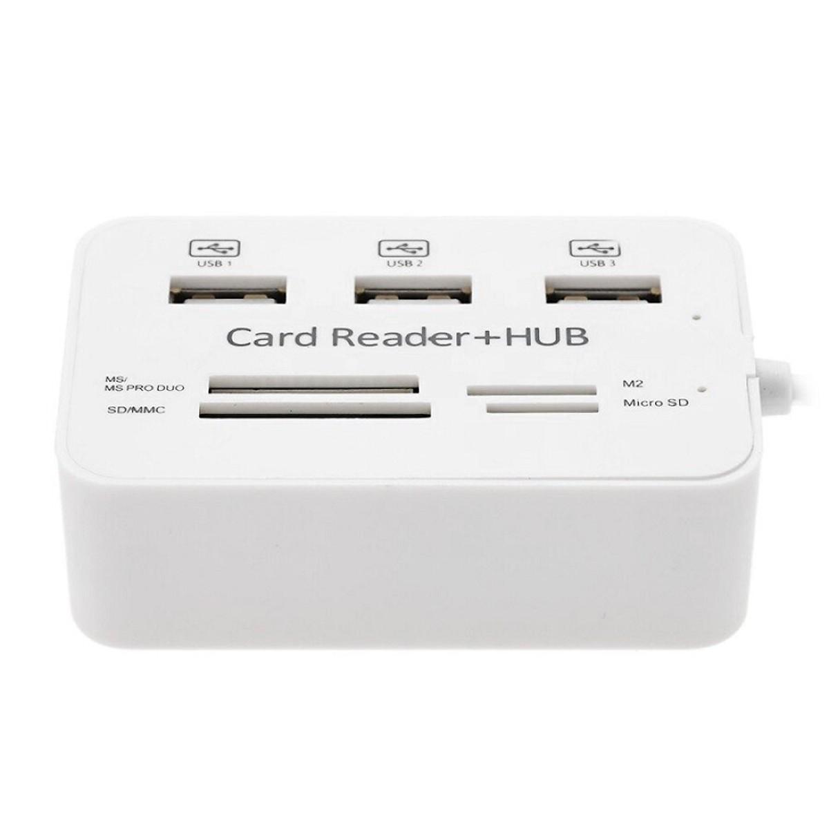 USB HUB 2.0 3 cổng kiêm đầu đọc thẻ nhớ đa năng hàng cao cấp có hộp - Hàng nhập khẩu