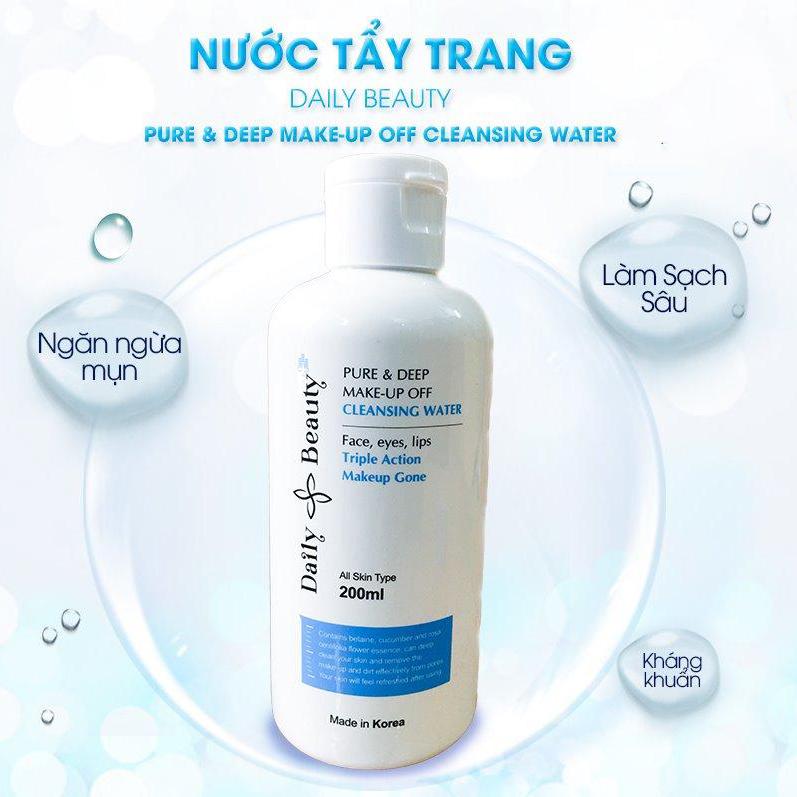 Nước tẩy trang Daily Beauty Pure & Deep Make-up Off Cleansing Water R&B xuất xứ LB Cosmetic Hàn Quốc, chiết xuất 100% tự nhiên, tẩy sạch bụi bẩn, bã nhờn, dầu thừa, và lớp trang điểm, làm da sạch sâu mạnh mẽ, dịu nhẹ với mọi loại da, 120ml