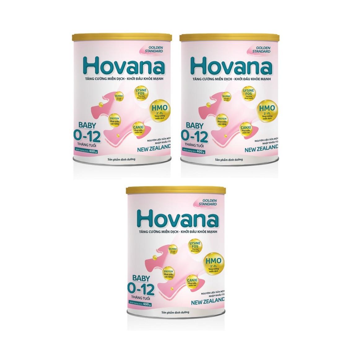 Bộ 3 Lon Sữa bột Hovana Baby hỗ trợ tiêu hóa cho bé từ 0 đến 12 tháng 400gr