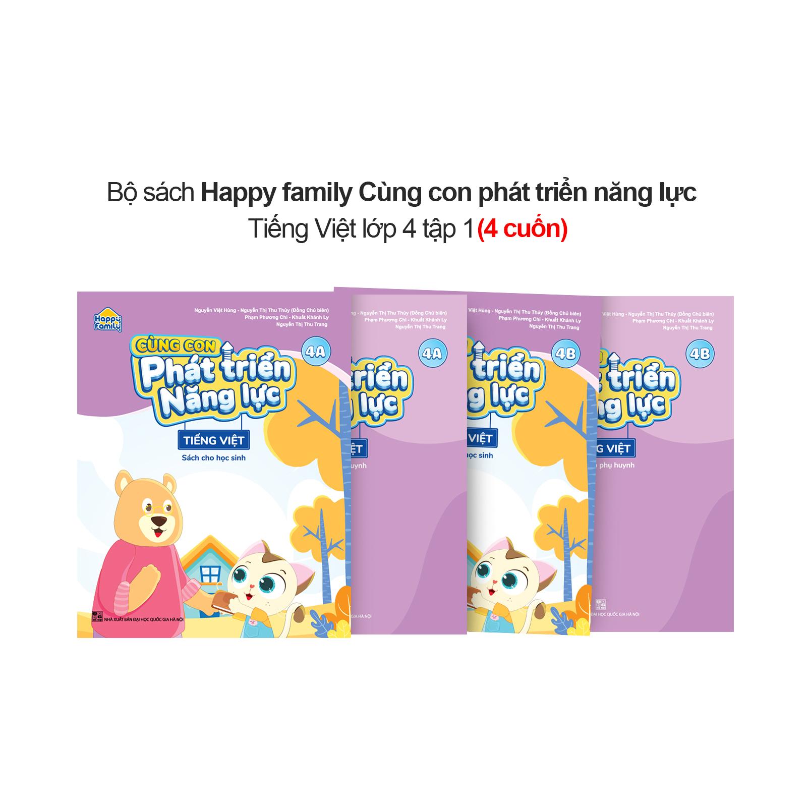Bộ 4 cuốn Happy family Cùng con phát triển năng lực Tiếng Việt lớp 4 tập 1