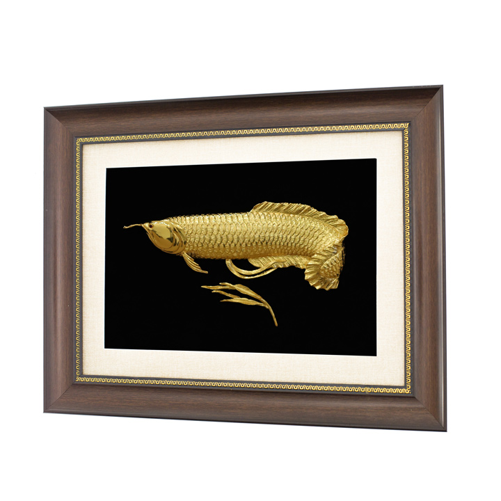 Tranh cá rồng phong thuỷ mạ vàng 24K - quà tặng tân gia cao cấp