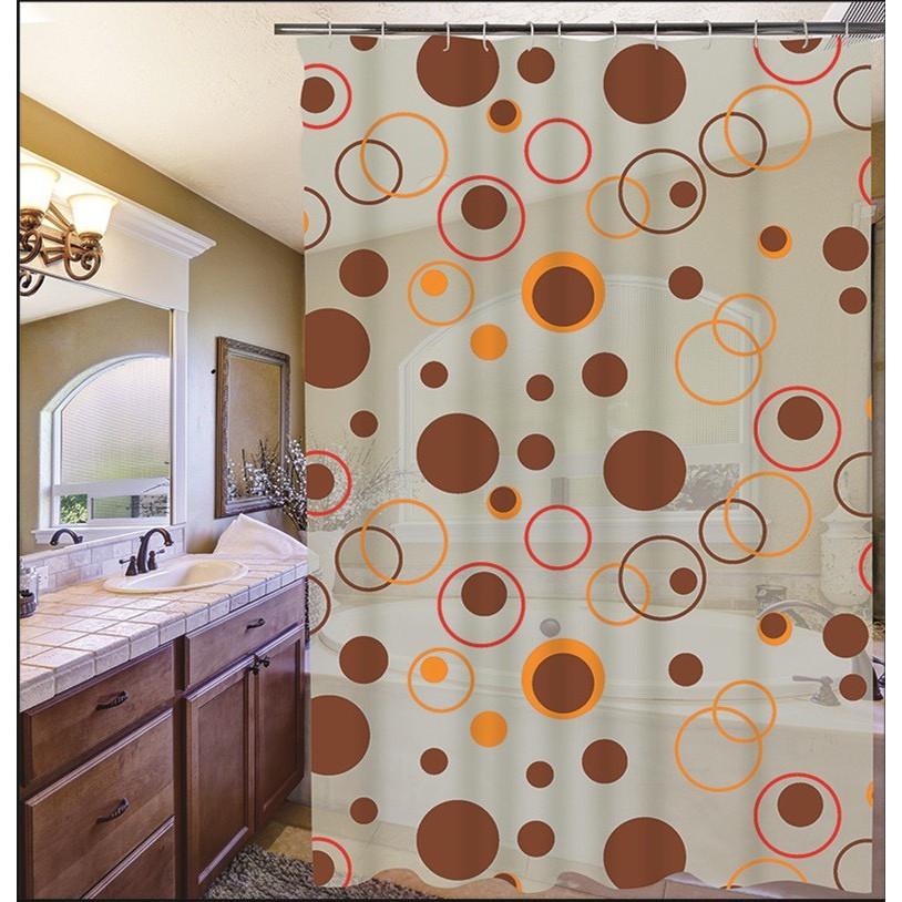 Rèm Phòng tắm PEVA không thấm nước 1.8m chấm tròn nâu bự