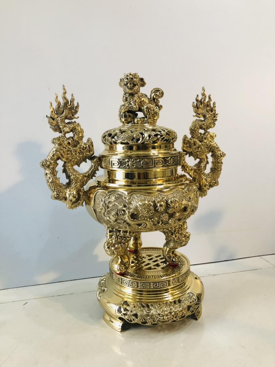 Quả đỉnh thờ cúng bằng đồng cao 35cm