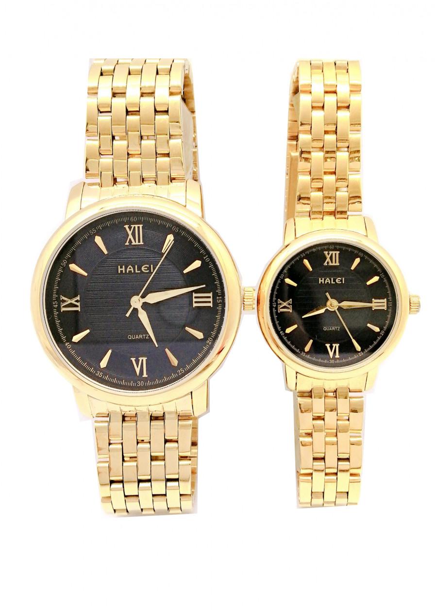 Cặp đồng hồ Nam Nữ Halei HL550 Dây vàng