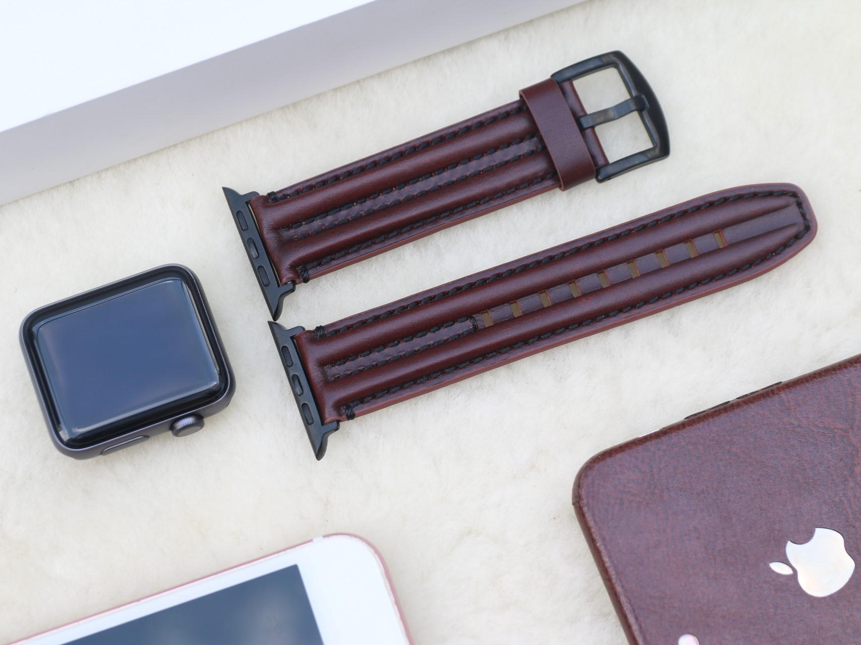 Dây Da Bò Sinewy phong cách Bụi bậm, Hầm hố dành cho Apple Watch Size 38mm / 40mm / 42mm / 44mm