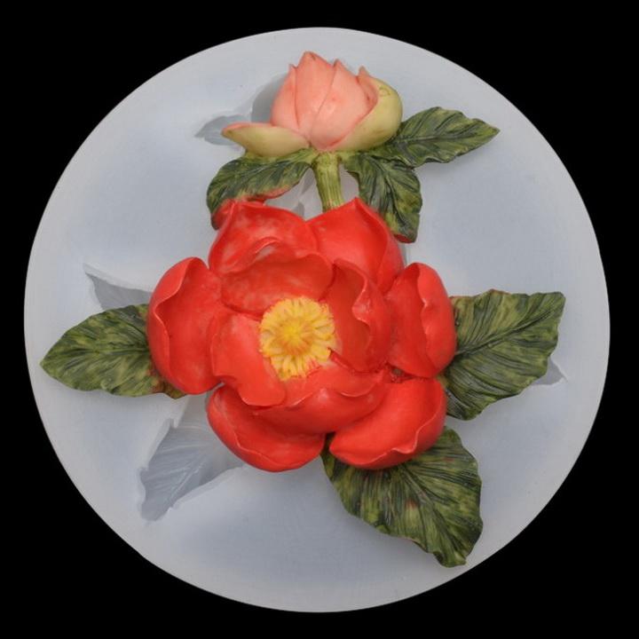 Khuôn silicon nhánh hoa hồng trà kèm nụ và lá