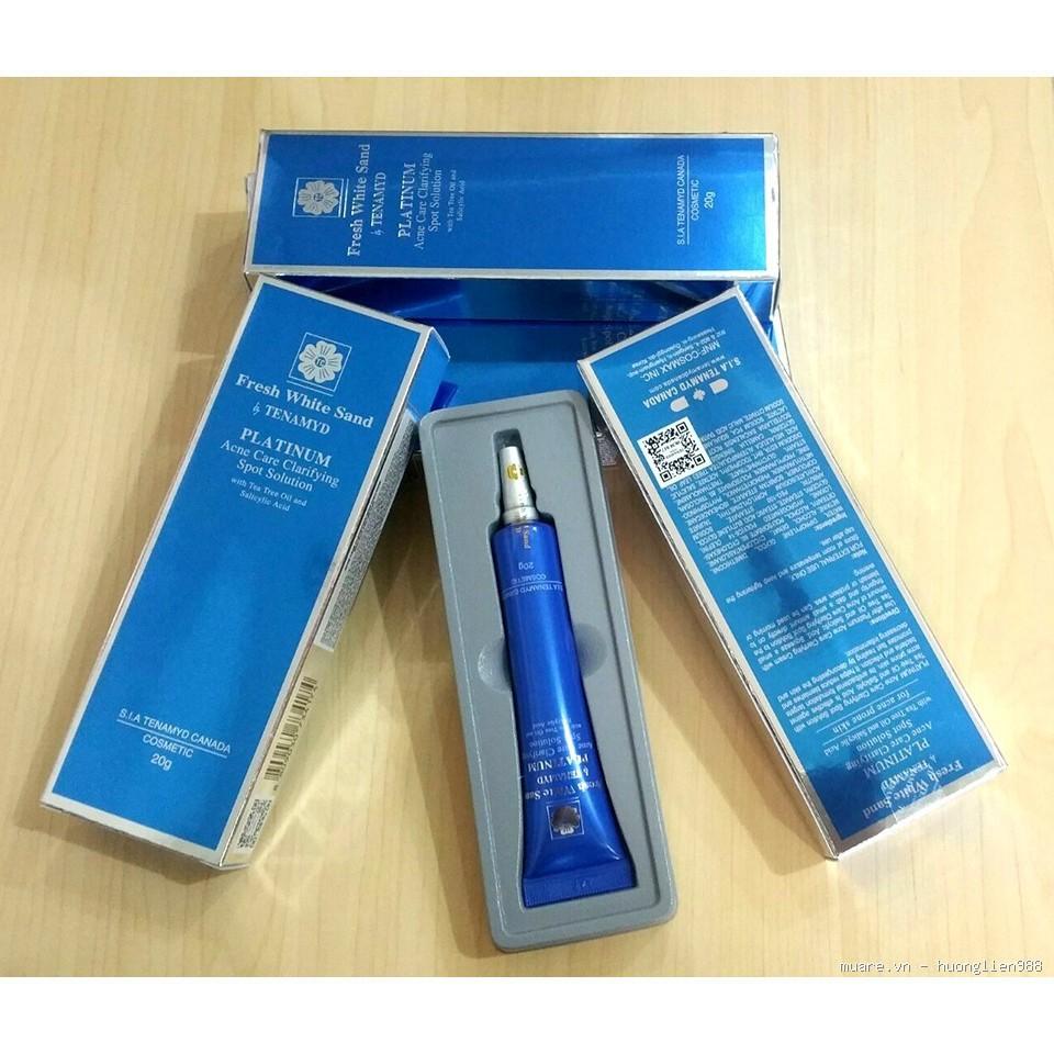Tinh chất ngăn ngừa nốt mụn Tenamyd Fresh White Sand Platinum Acne Care Clarifying Spot Solution 20gr làm lành các nốt mụn, giảm chứng viêm da và sưng tấy