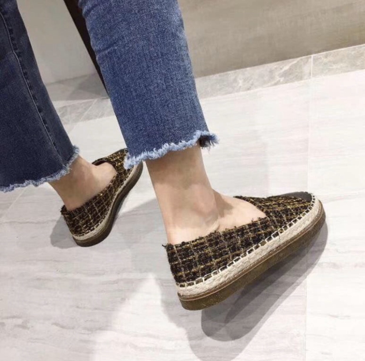 Giày lười slip on nữ bọc cói phối kim tuyến siêu xinh GL6