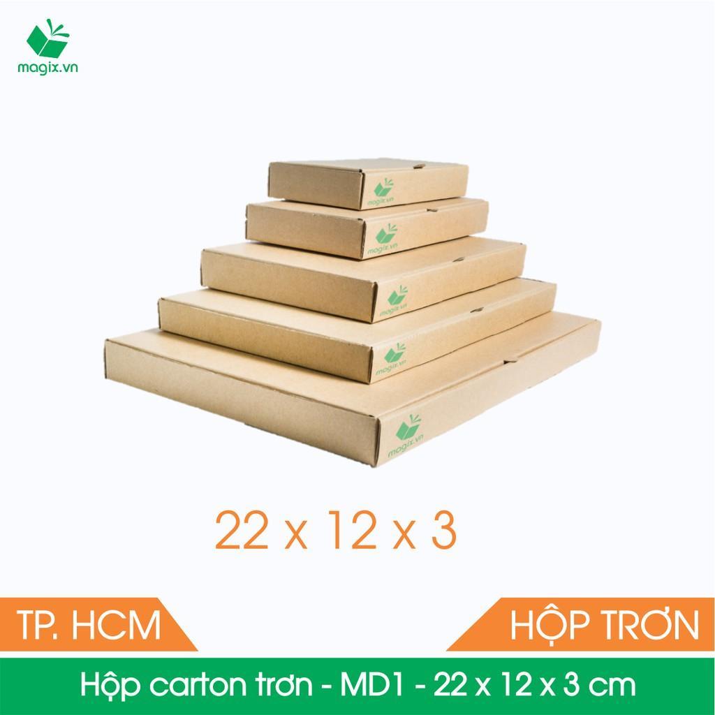 MD1 - 22x12x3 cm - 50 Thùng hộp carton trơn đóng hàng + Tặng 25 decal HÀNG DỄ VỠ