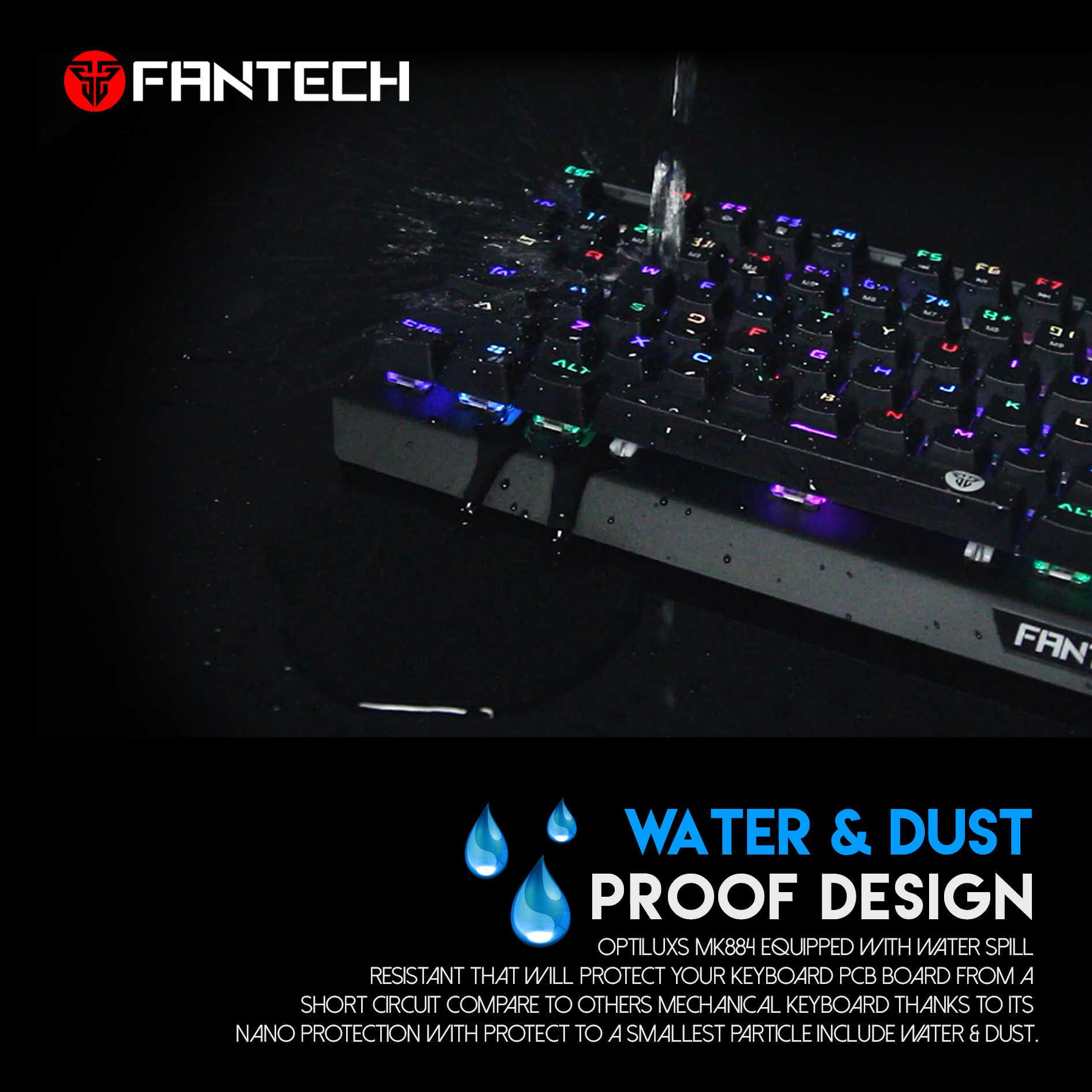 Bàn phím cơ Gaming Optical Orange Tactile Switch Led RGB chống nước, chống bụi, chống mài mòn Fantech MK884 - Hàng chính hãng