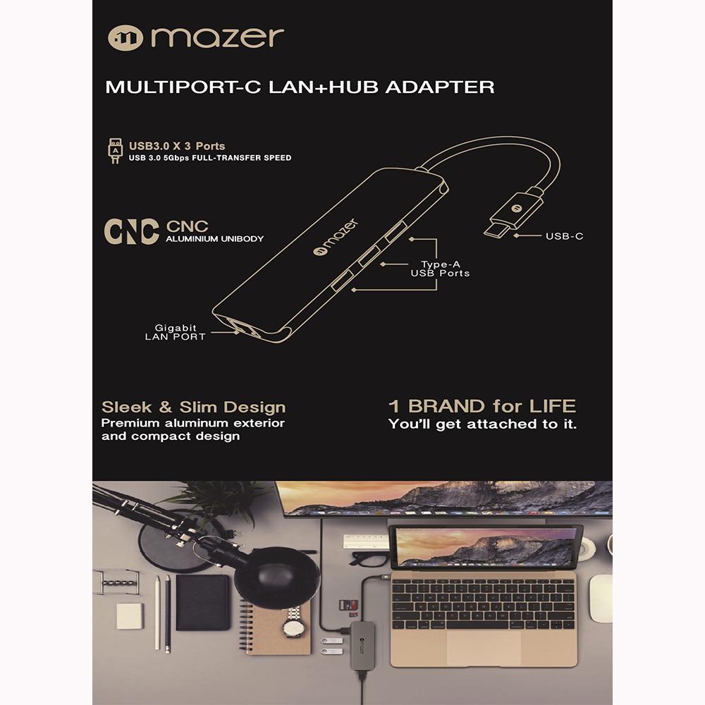 Cổng chuyển đổi Mazer USB - C to USB 3.0X3 Gigabit Ethernet - Hub chuyển đổi Mazer kiêm sạc nhanh cho thiết bị di động - Hàng Chính Hãng
