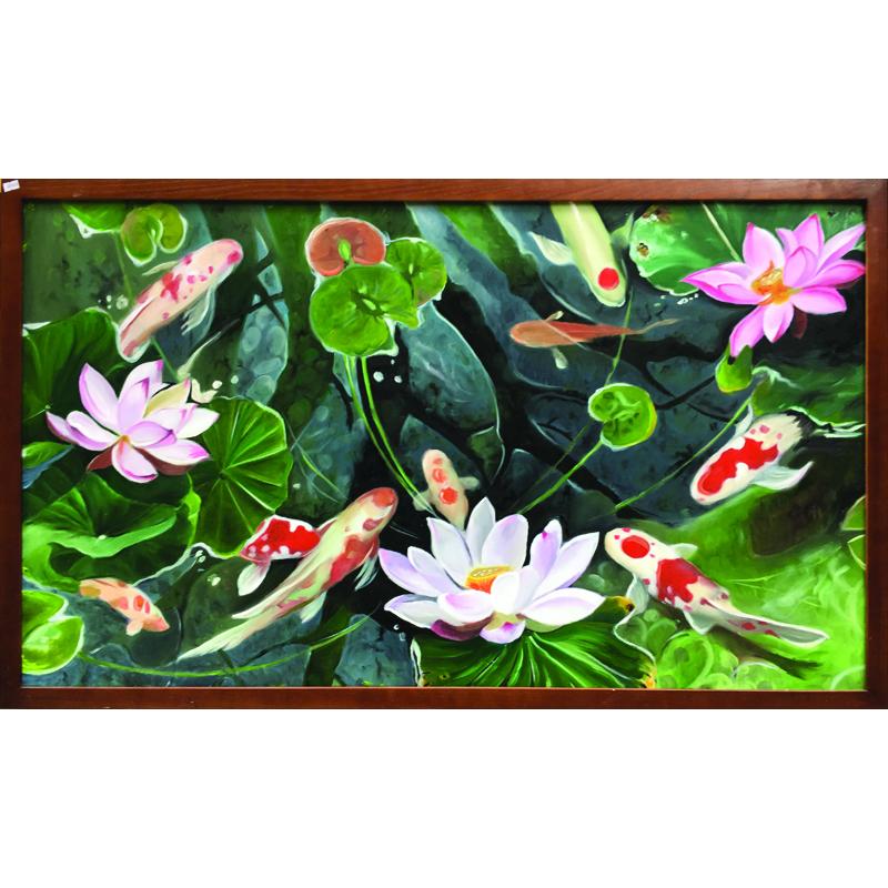 Tranh sơn dầu vẽ tay Cá chép hoa sen OP019