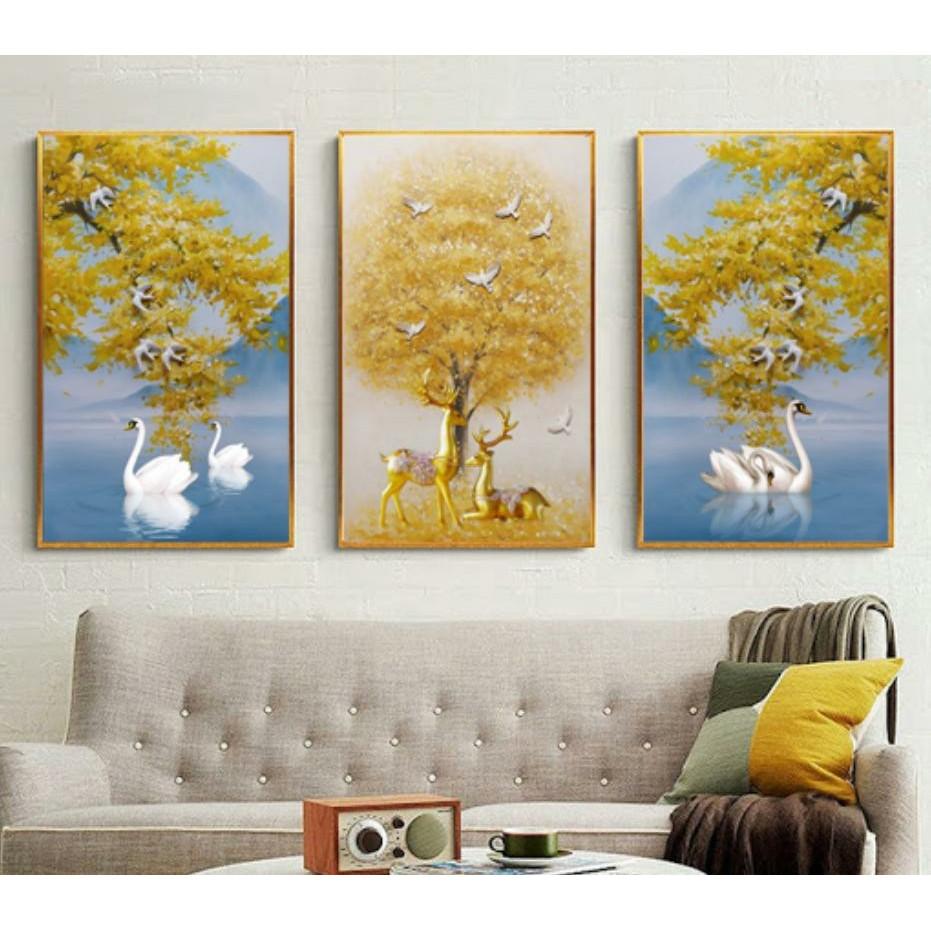 Bộ tranh 3 Bức - Tranh treo tường  phòng khách- Tranh 3D Hiện Đại HD 39765  /Gỗ MDF cao cấp phủ kim sa/ Chống ẩm mốc, mối mọt/Bo viền góc tròn