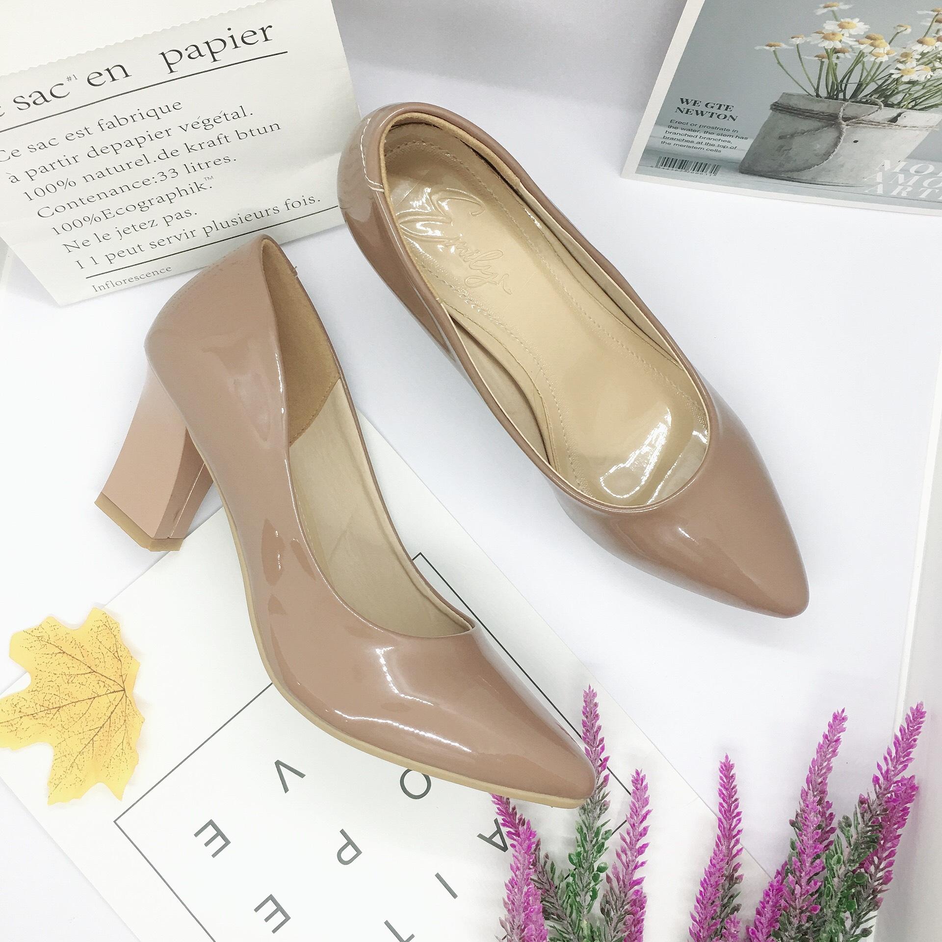 Giày cao gót nữ da bóng đế vuông 7cm dáng basic hàng VNXK da mềm êm chân -HC01