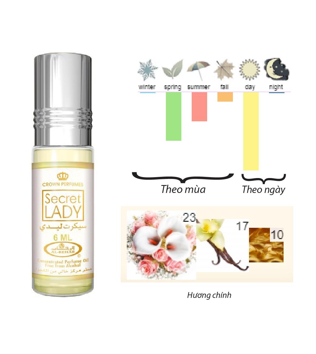 Tinh dầu nước hoa NỮ_ SECRET LADY Al-Rehab  (hàng chính hãng )