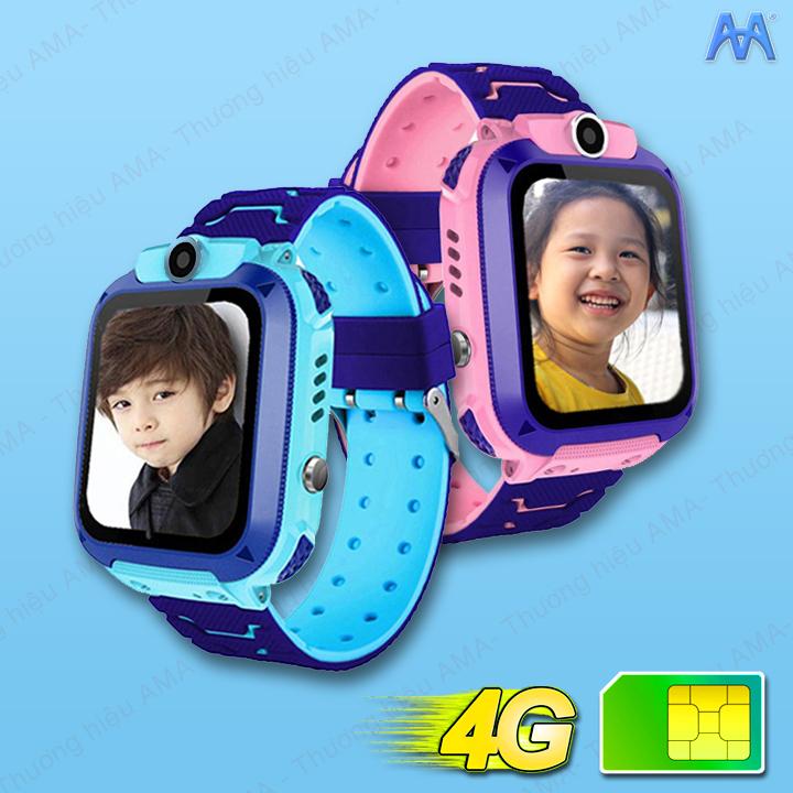 Đồng Hồ Thông Minh Trẻ Em Chống Nước Chuẩn IP67 AMA Watch Q12 Hàng nhập khẩu